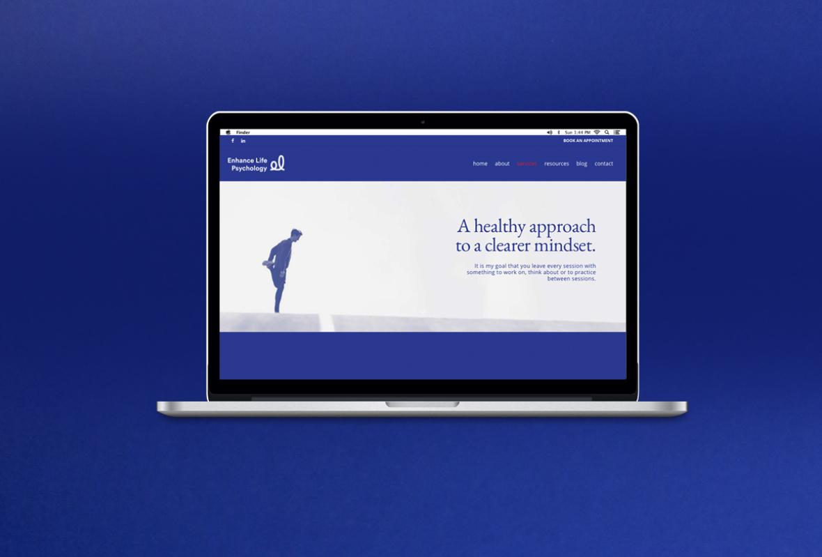 Desktop website for Enhance Life Psychology