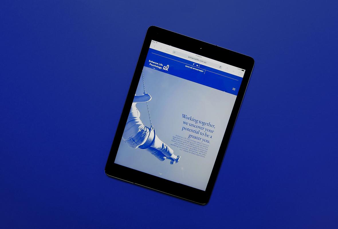 Tablet website display for Enhance Life Psychology