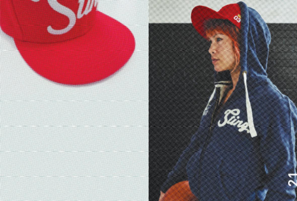 Lookbook for Sting International with ladies' hoodie