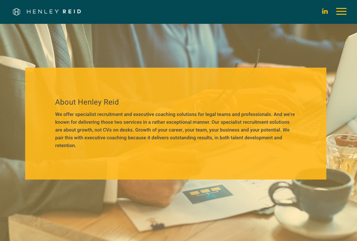 'About' copy for Henley Reid, legal recruiter