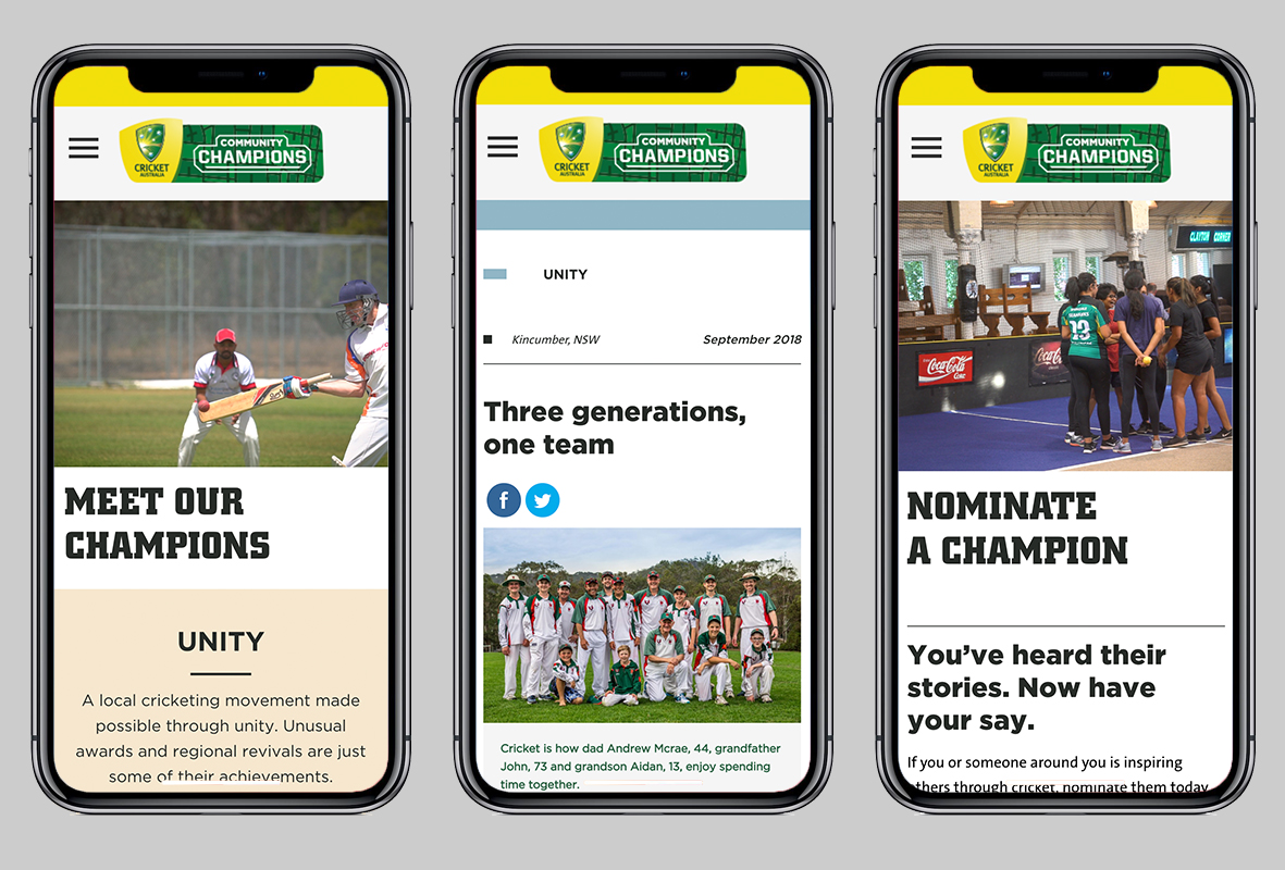 Community Champions mobile website, Cricket Australia