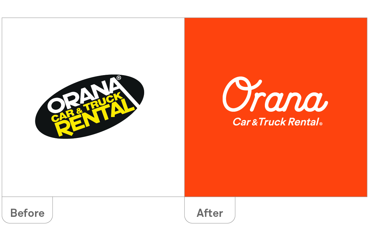 Orana Car & Truck Rentals logo - before and after