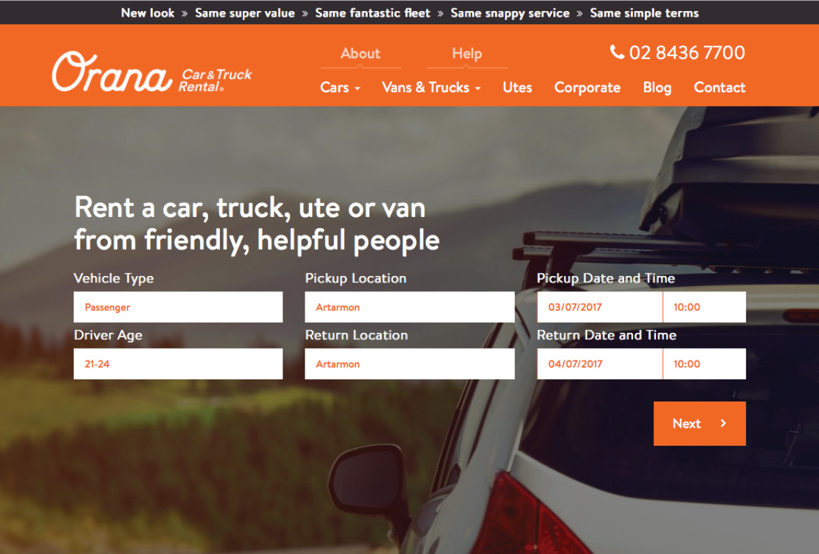 Booking form for Orana Car & Truck Rentals