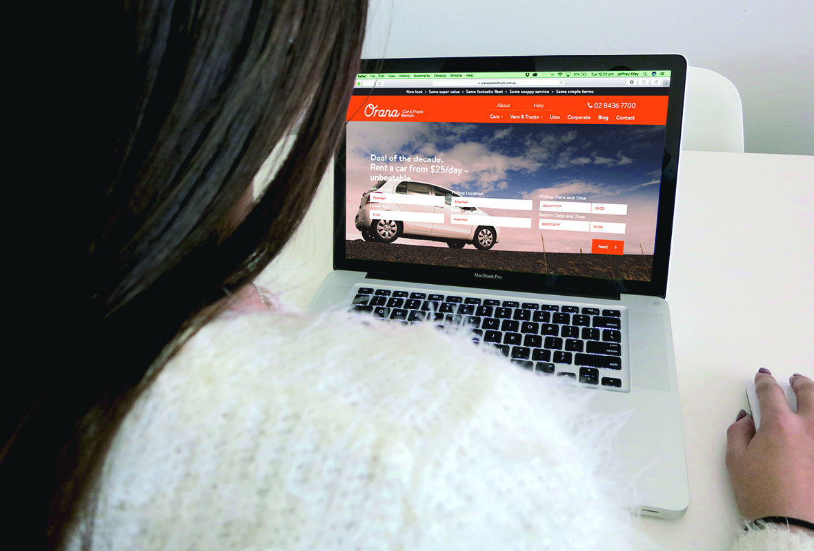 Desktop website for Orana Car & Truck Rentals