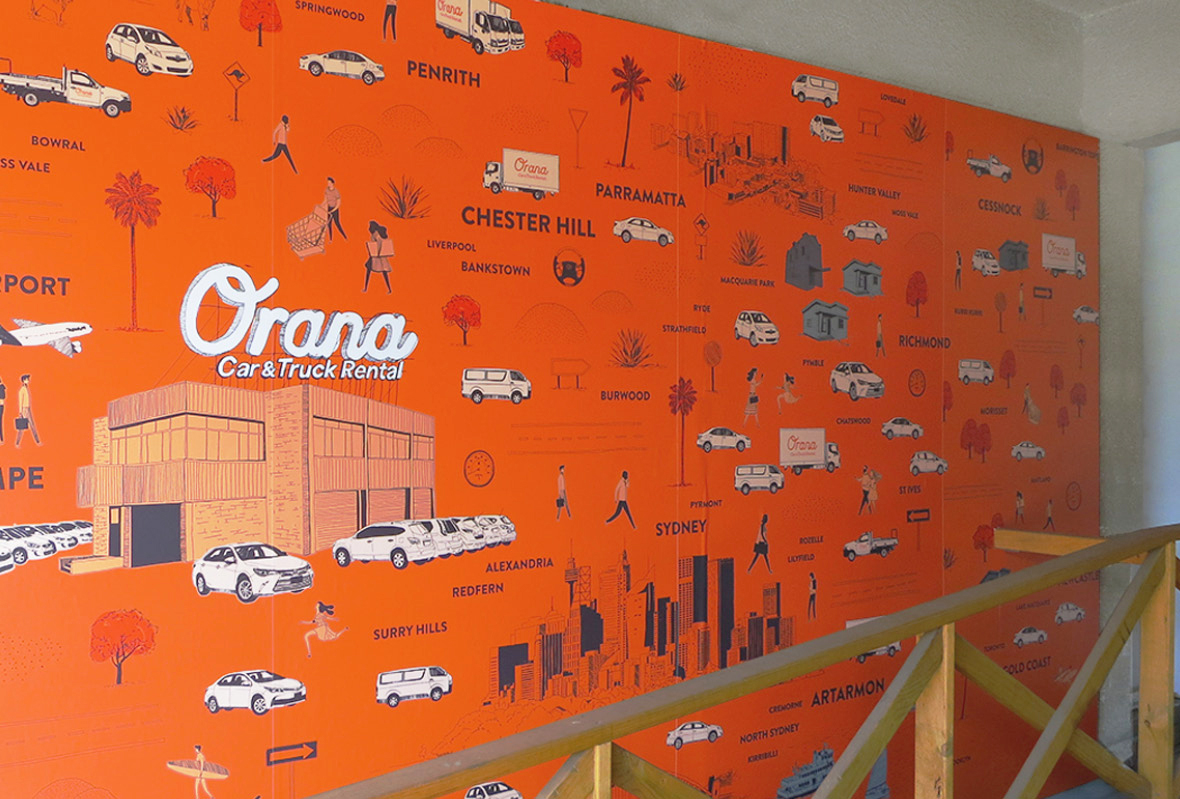 Infographic wall for Orana Car & Truck Rentals