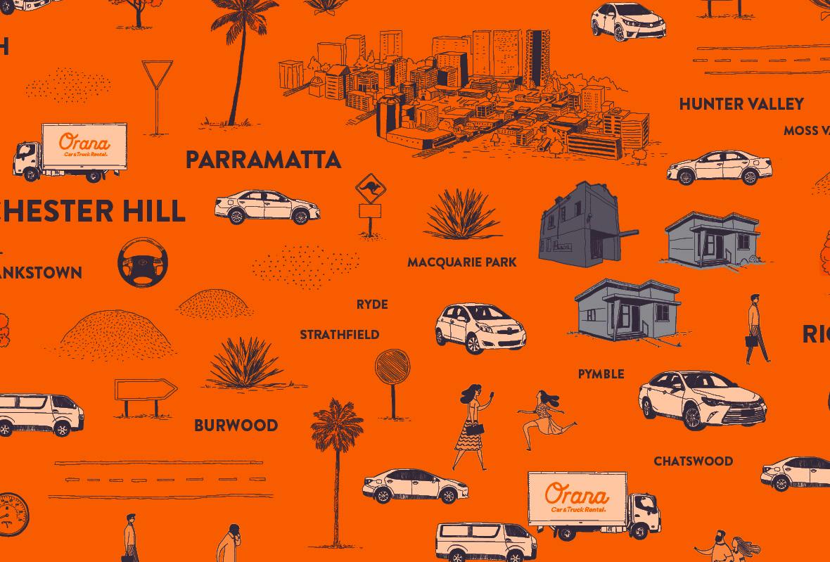 Original illustrations for for Orana Car & Truck Rentals
