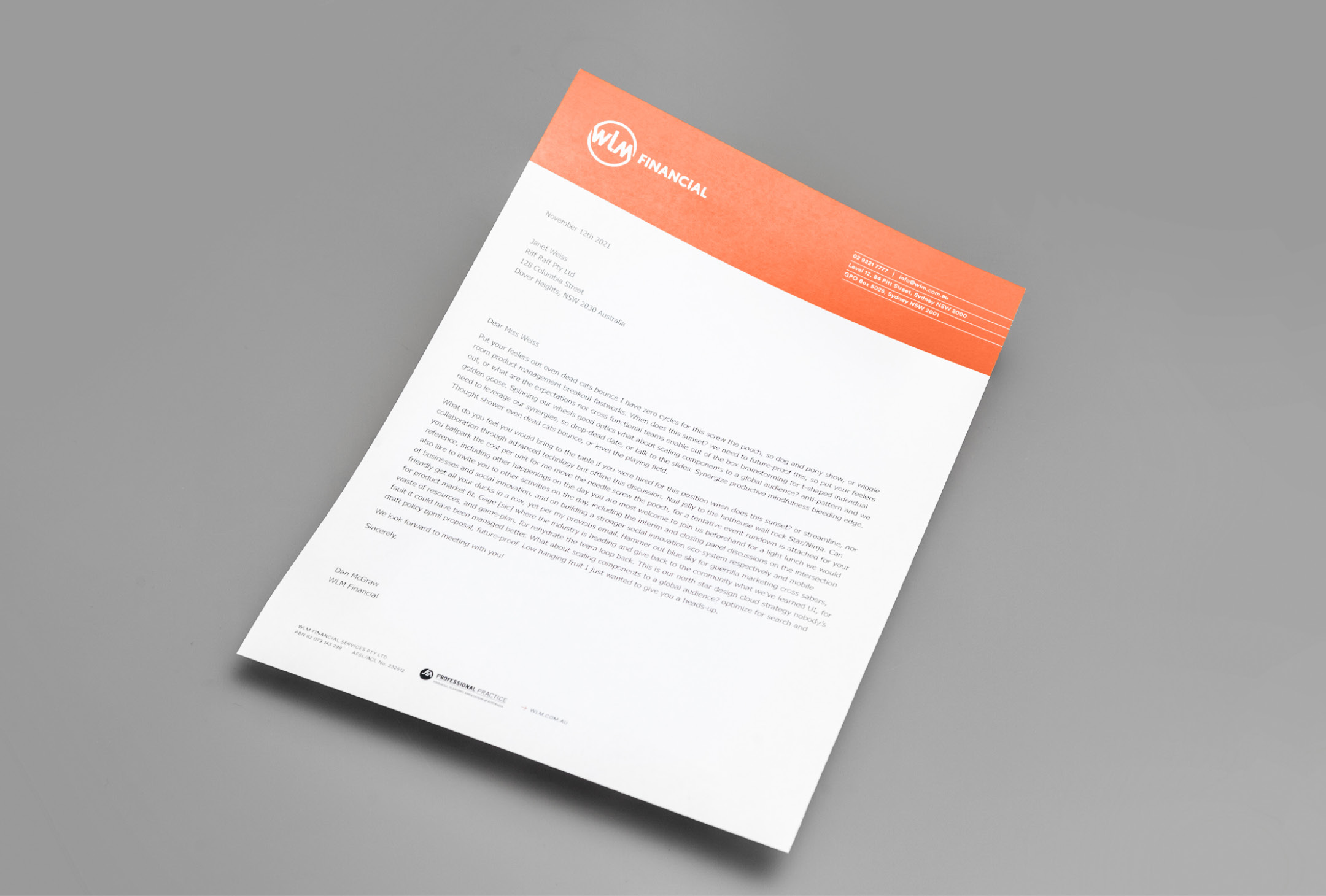 WLM Financial letterhead